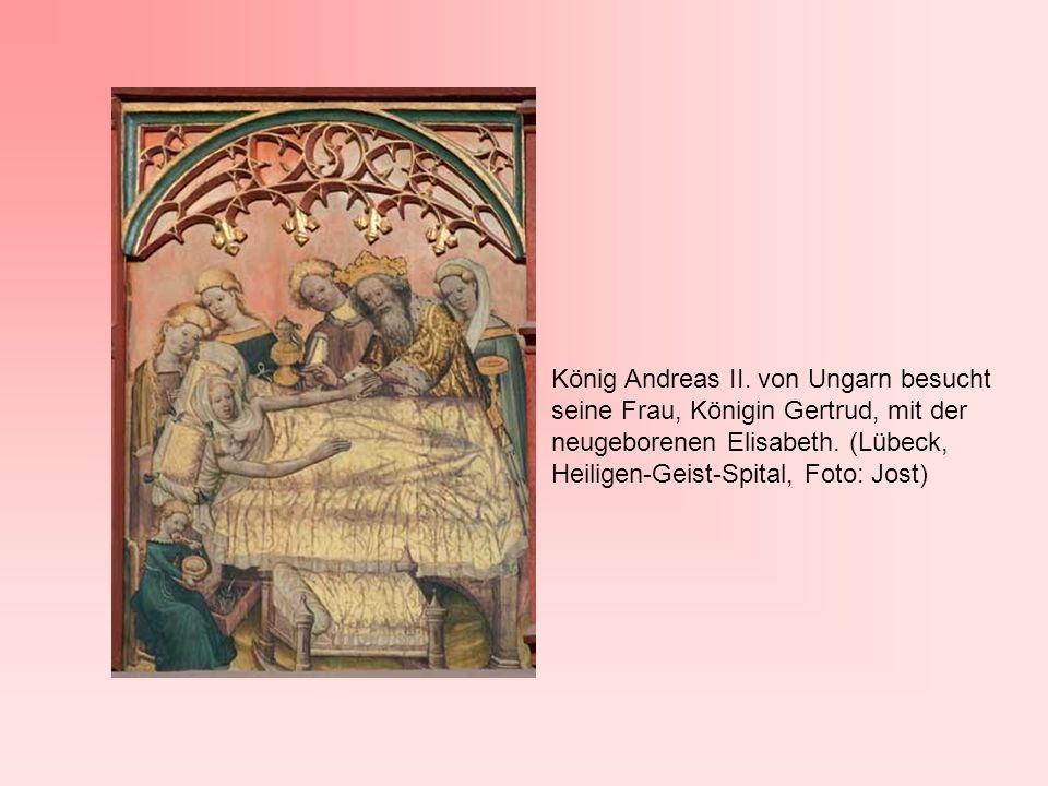 König Andreas II. von Ungarn besucht seine Frau, Königin Gertrud, mit der neugeborenen Elisabeth.