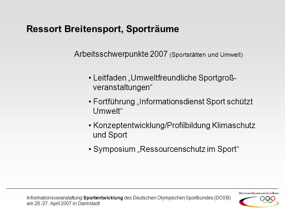 Ressort Breitensport, Sporträume