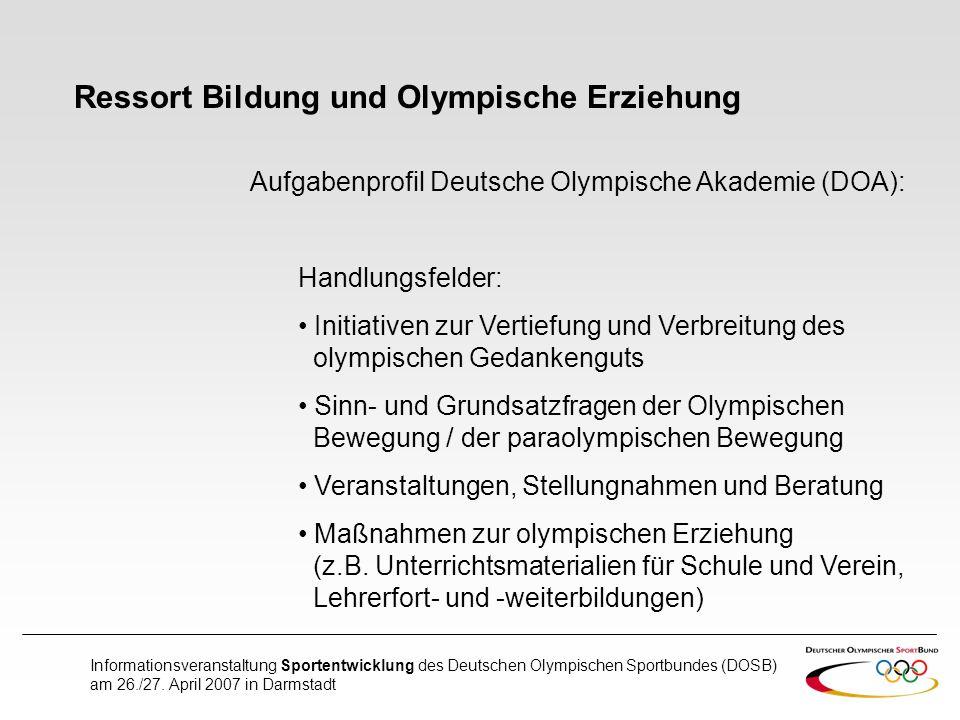 Ressort Bildung und Olympische Erziehung