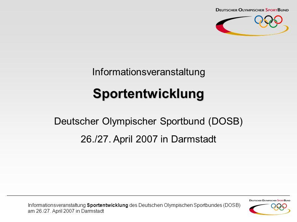 Sportentwicklung Informationsveranstaltung