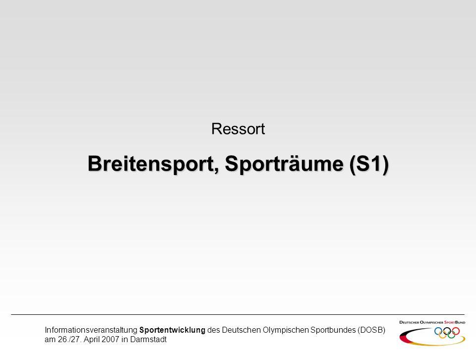 Breitensport, Sporträume (S1)