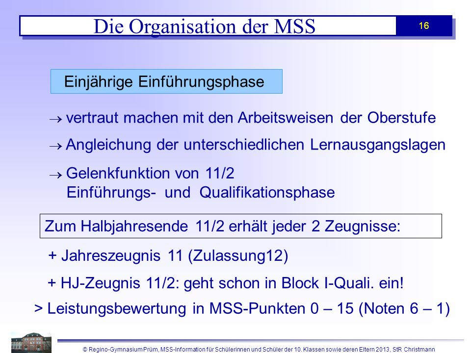 Die Organisation der MSS