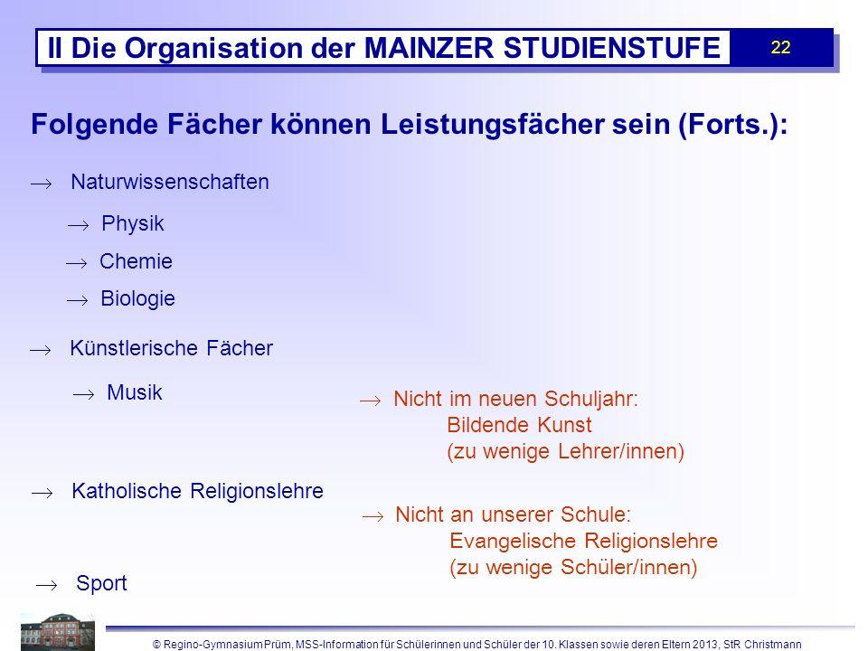 II Die Organisation der MAINZER STUDIENSTUFE