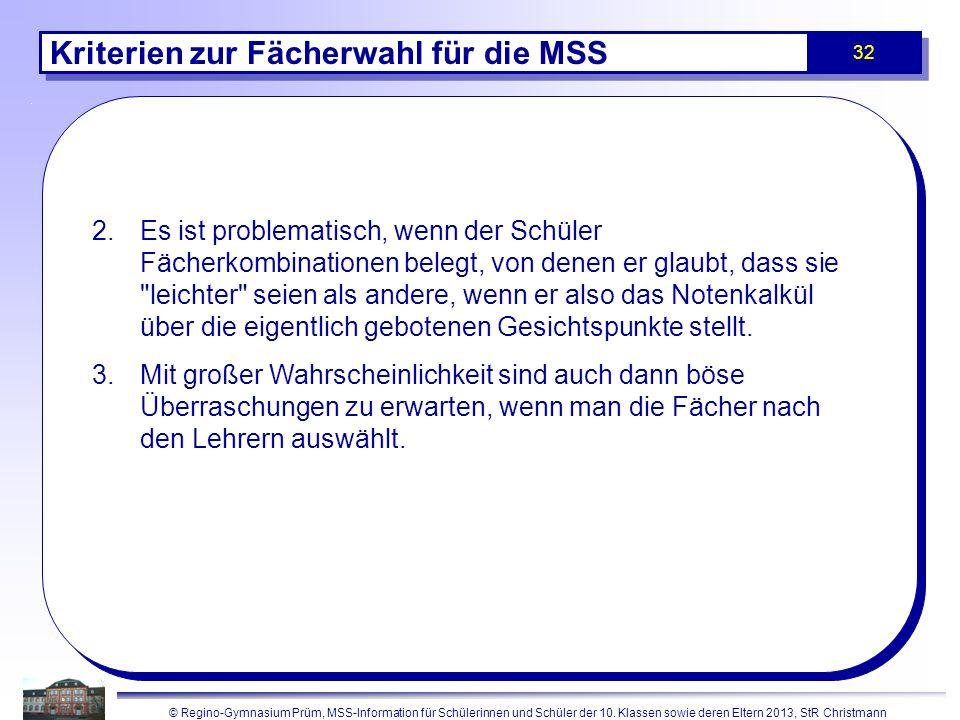 Kriterien zur Fächerwahl für die MSS