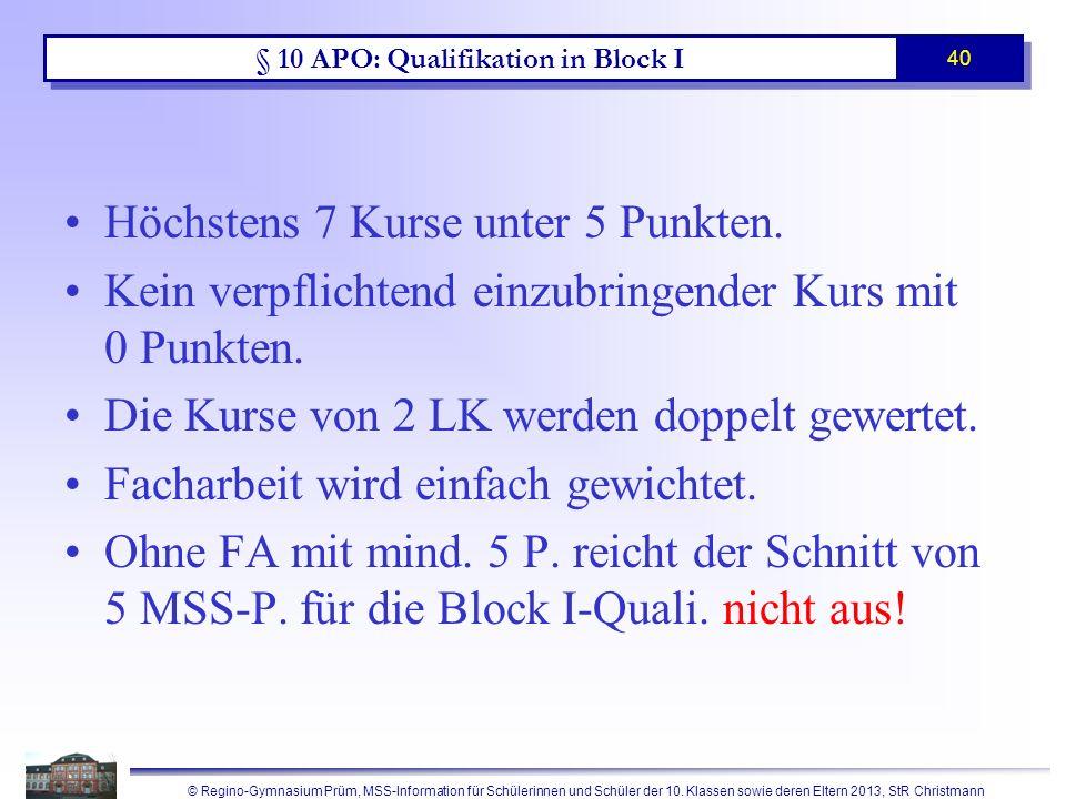 § 12 APO: Qualifikation in Block II (Prüfungsbereich)