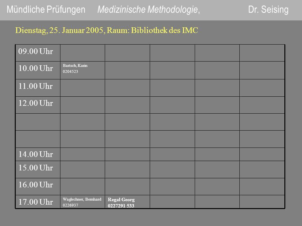 Mündliche Prüfungen Medizinische Methodologie, Dr. Seising