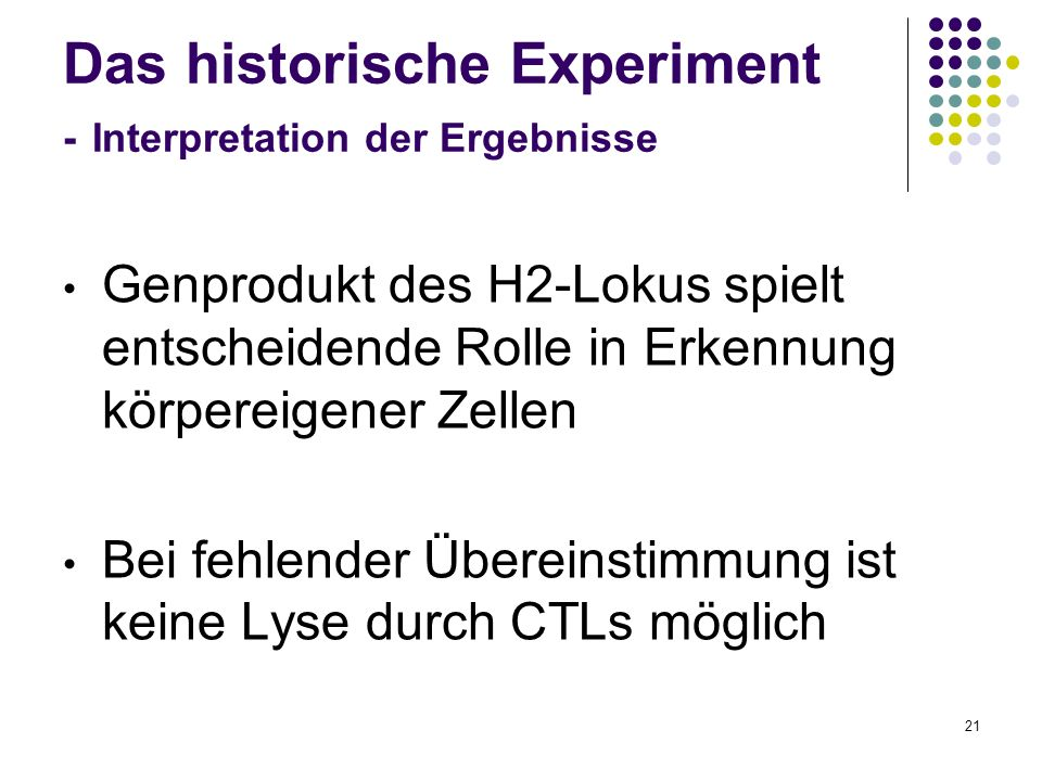 Das historische Experiment - Interpretation der Ergebnisse