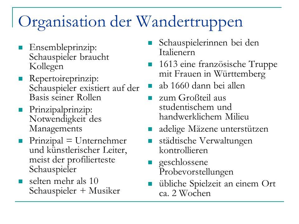 Organisation der Wandertruppen