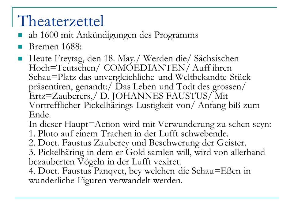 Theaterzettel ab 1600 mit Ankündigungen des Programms Bremen 1688: