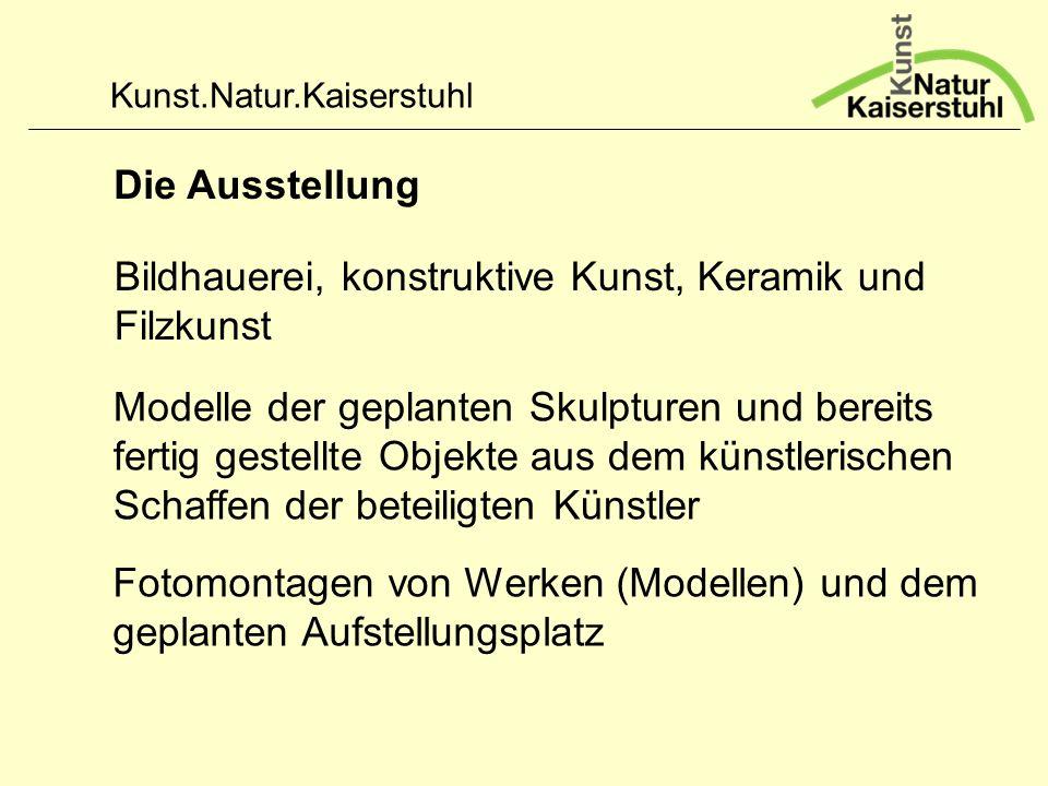 Die Ausstellung Bildhauerei, konstruktive Kunst, Keramik und Filzkunst.
