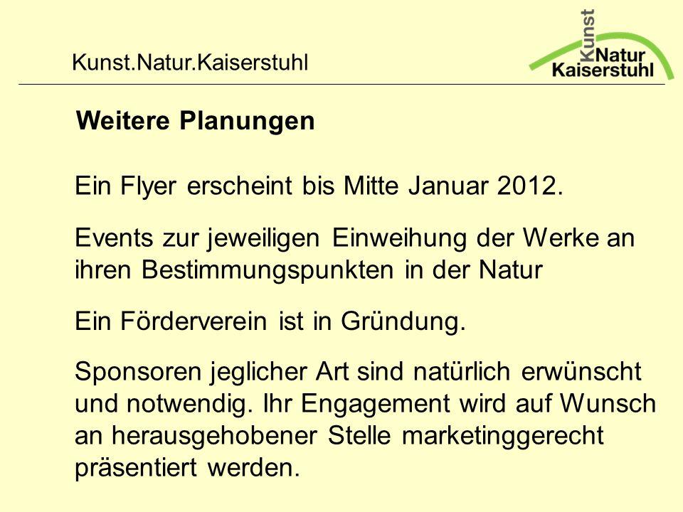 Weitere Planungen Ein Flyer erscheint bis Mitte Januar 2012. Events zur jeweiligen Einweihung der Werke an ihren Bestimmungspunkten in der Natur.
