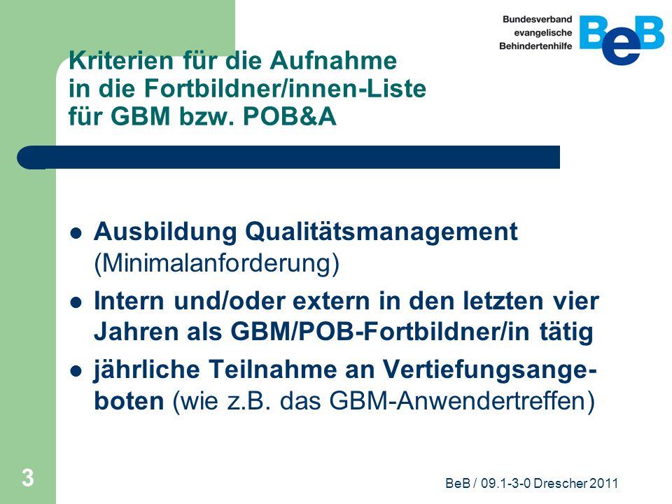 Ausbildung Qualitätsmanagement (Minimalanforderung)