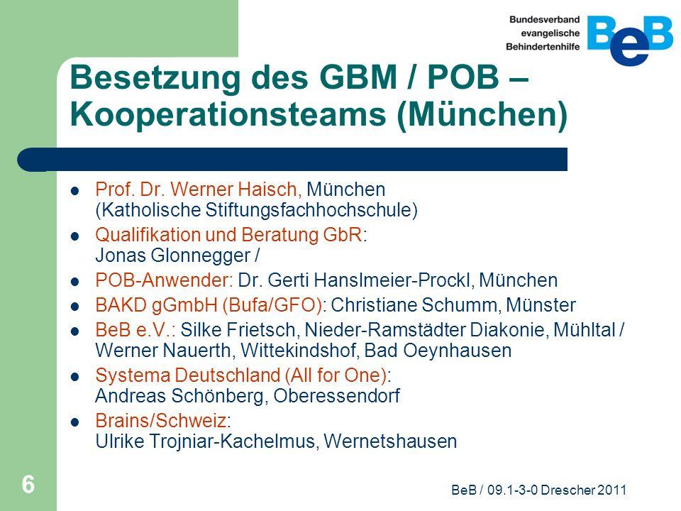 Besetzung des GBM / POB – Kooperationsteams (München)