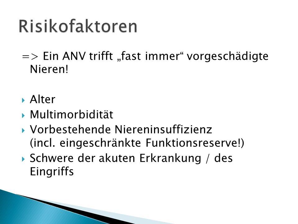 """Risikofaktoren => Ein ANV trifft """"fast immer vorgeschädigte Nieren! Alter. Multimorbidität."""