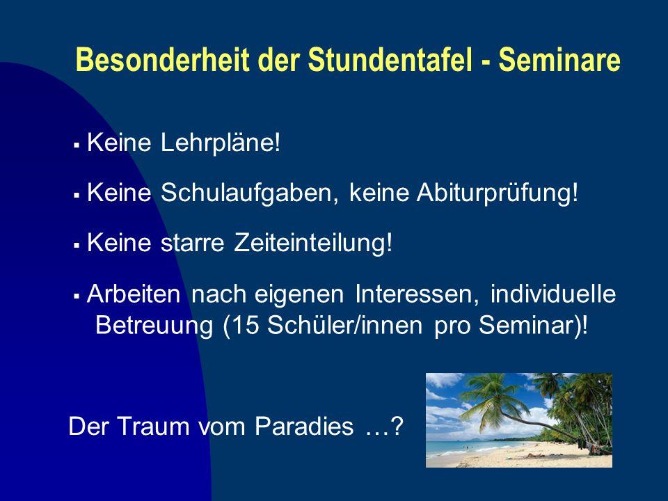 Besonderheit der Stundentafel - Seminare