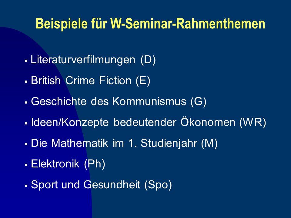 Beispiele für W-Seminar-Rahmenthemen