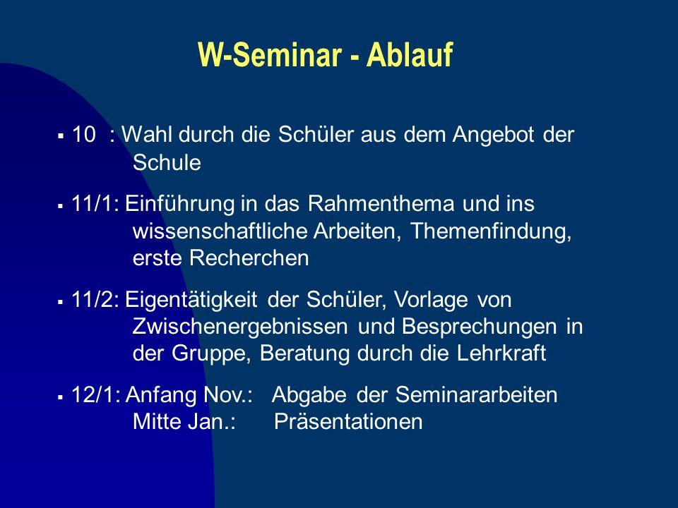 W-Seminar - Ablauf 10 : Wahl durch die Schüler aus dem Angebot der Schule.