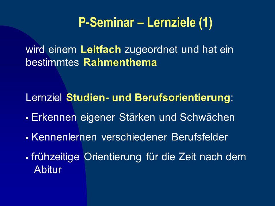 P-Seminar – Lernziele (1)