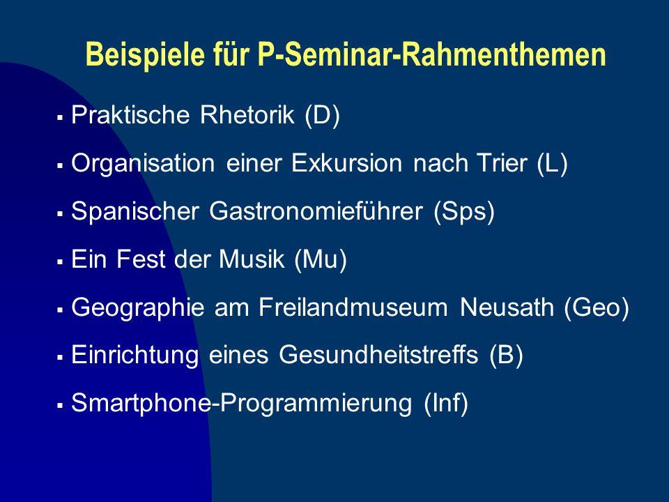 Beispiele für P-Seminar-Rahmenthemen