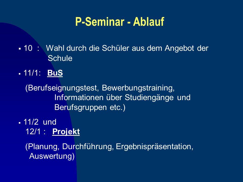 P-Seminar - Ablauf 10 : Wahl durch die Schüler aus dem Angebot der Schule. 11/1: BuS.