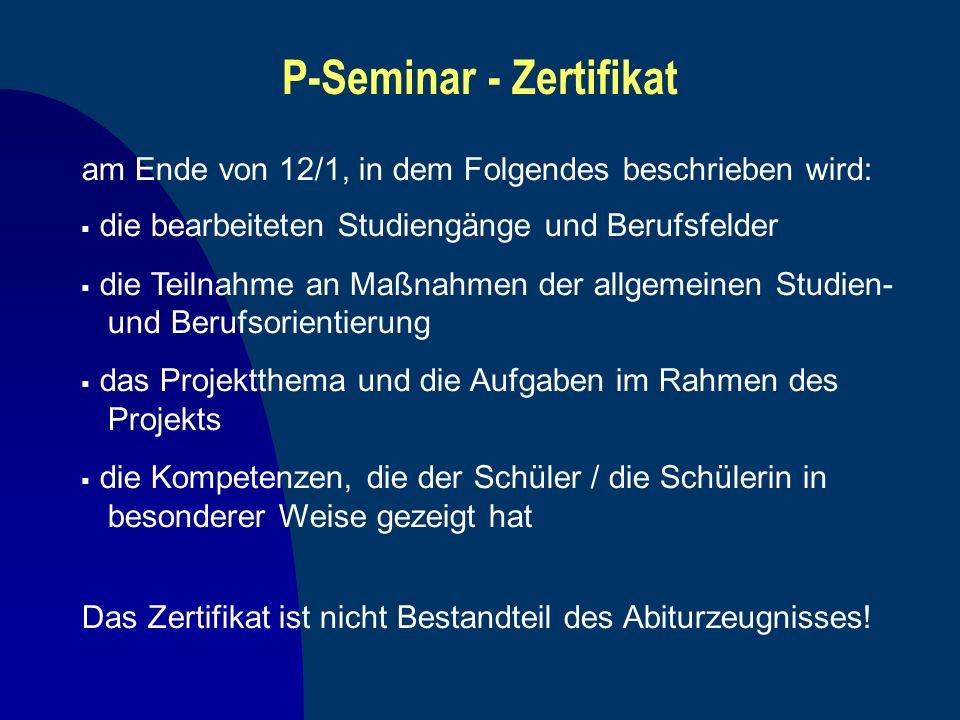 P-Seminar - Zertifikat