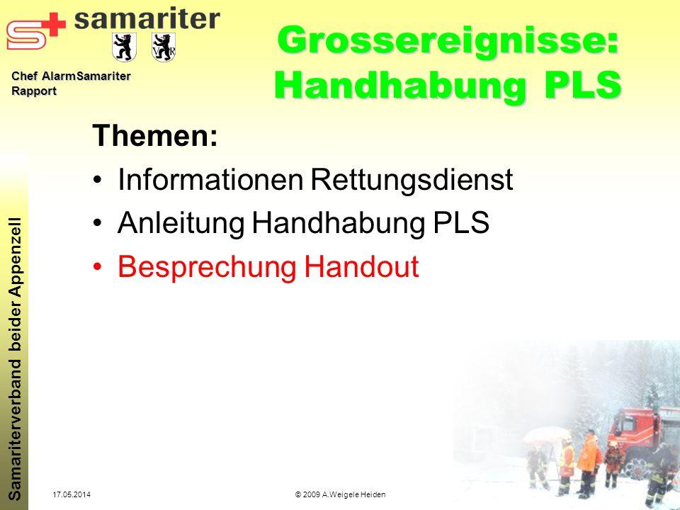 Grossereignisse: Handhabung PLS