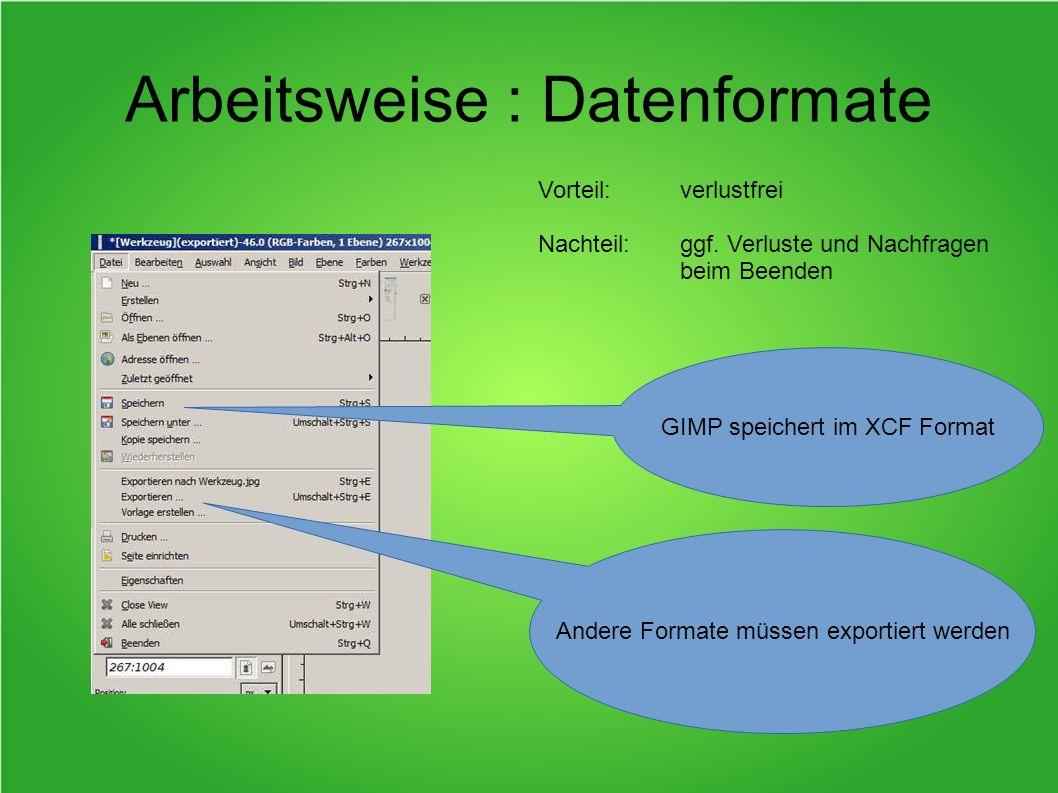 Arbeitsweise : Datenformate