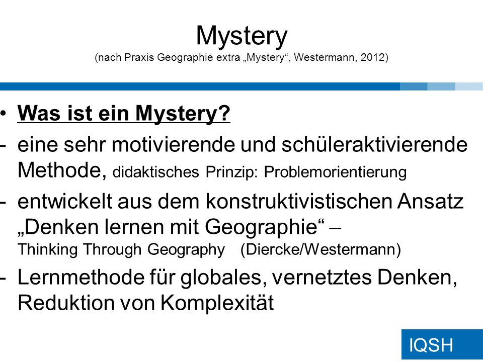 "Mystery (nach Praxis Geographie extra ""Mystery , Westermann, 2012)"