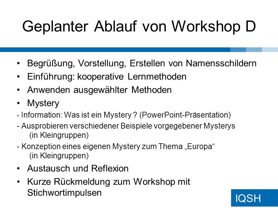 Geplanter Ablauf von Workshop D