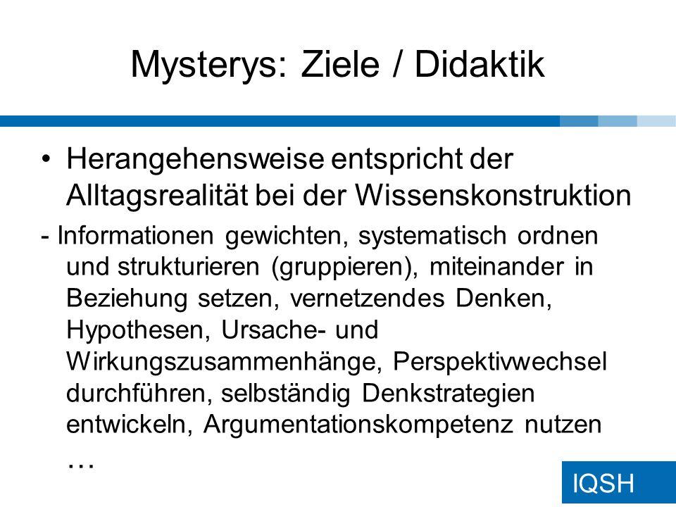 Mysterys: Ziele / Didaktik