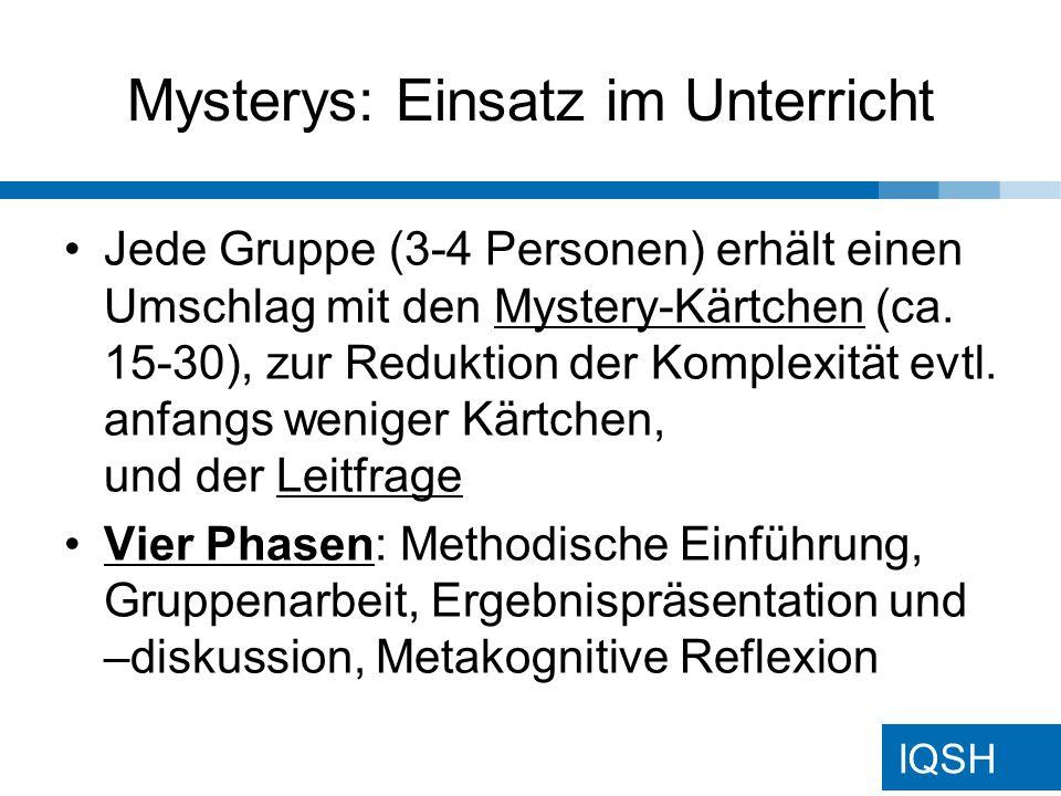 Mysterys: Einsatz im Unterricht