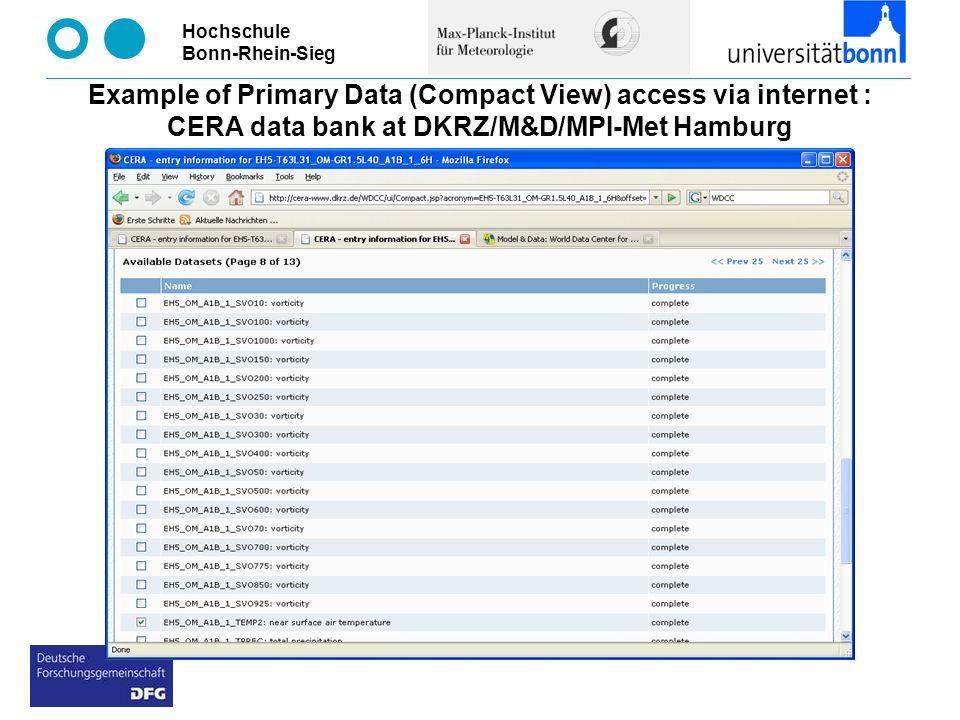 Example of Primary Data (Compact View) access via internet : CERA data bank at DKRZ/M&D/MPI-Met Hamburg
