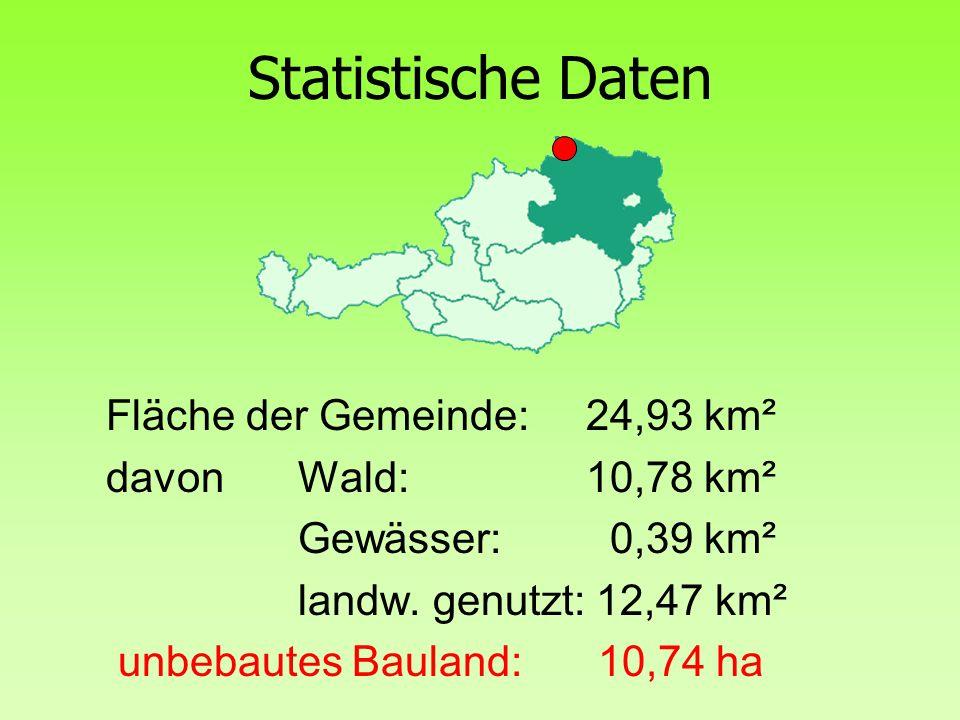 Statistische Daten Fläche der Gemeinde: 24,93 km²