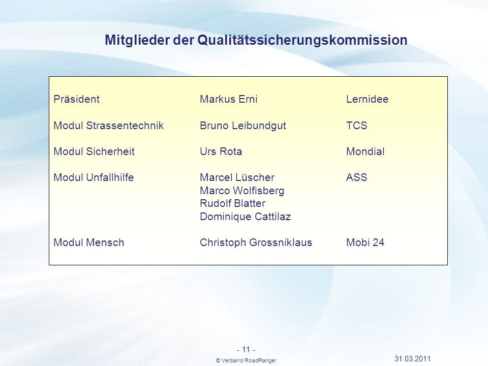 Mitglieder der Qualitätssicherungskommission