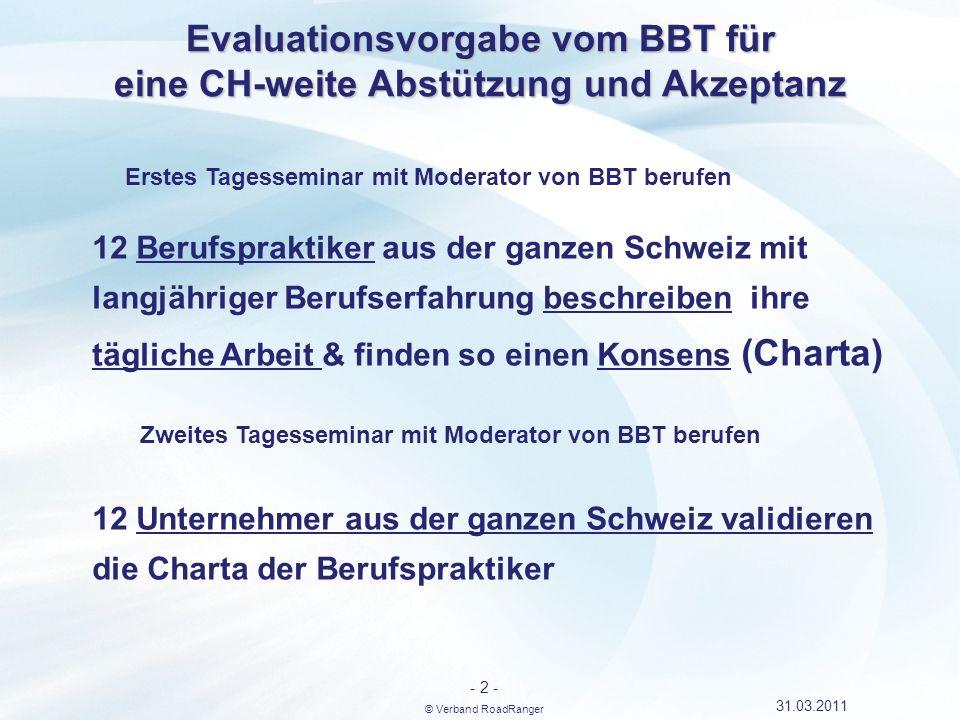 Evaluationsvorgabe vom BBT für eine CH-weite Abstützung und Akzeptanz