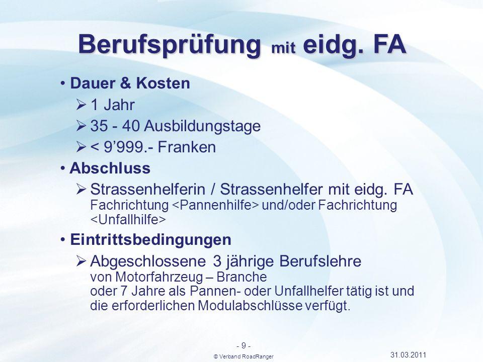 Berufsprüfung mit eidg. FA