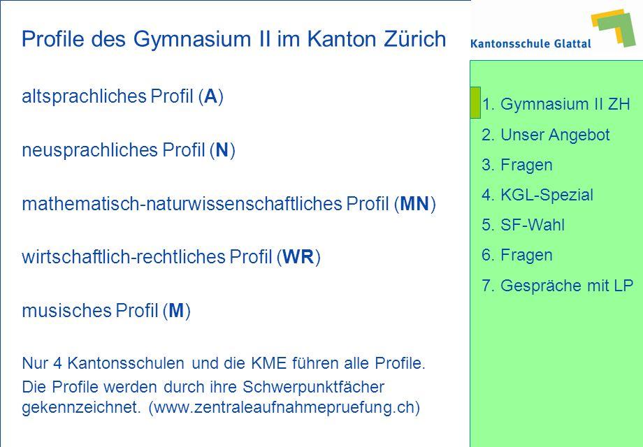 Profile des Gymnasium II im Kanton Zürich