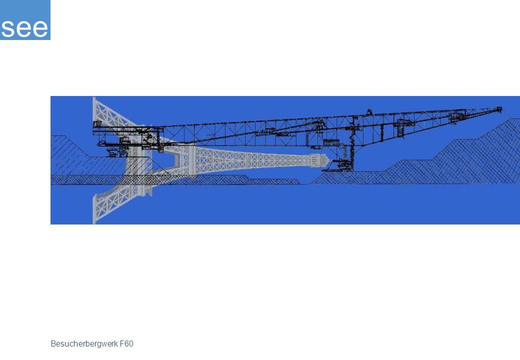 Mit 502 Metern Länge (damit ist sie 182 Meter länger als der Eiffelturm), mit 240 Metern Breite, insgesamt 80 Metern Höhe und 13.600 Tonnen Gewicht, heute nach der Umrüstung sind es immerhin noch 11.000 Tonnen, erzählt der Gigant von Geschichte und Gegenwart des Braunkohlenbergbaus in der Lausitz.
