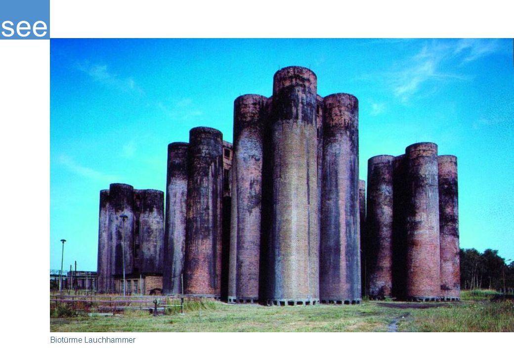 Die Biotürme Lauchhammer muten an wie eine mittelalterliche Burg, sind aber ein einzigartiges Industriedenkmal: In der rund 50 Jahre alten Anlage wurde das Abwasser der ehemaligen Braunkohle-Großkokerei Lauchhammer biologisch gereinigt. Die Biotürme sind heute die einzige Erinnerung an die Zeit der boomenden Braunkohleindustrie und werden nach beendeter Sanierung