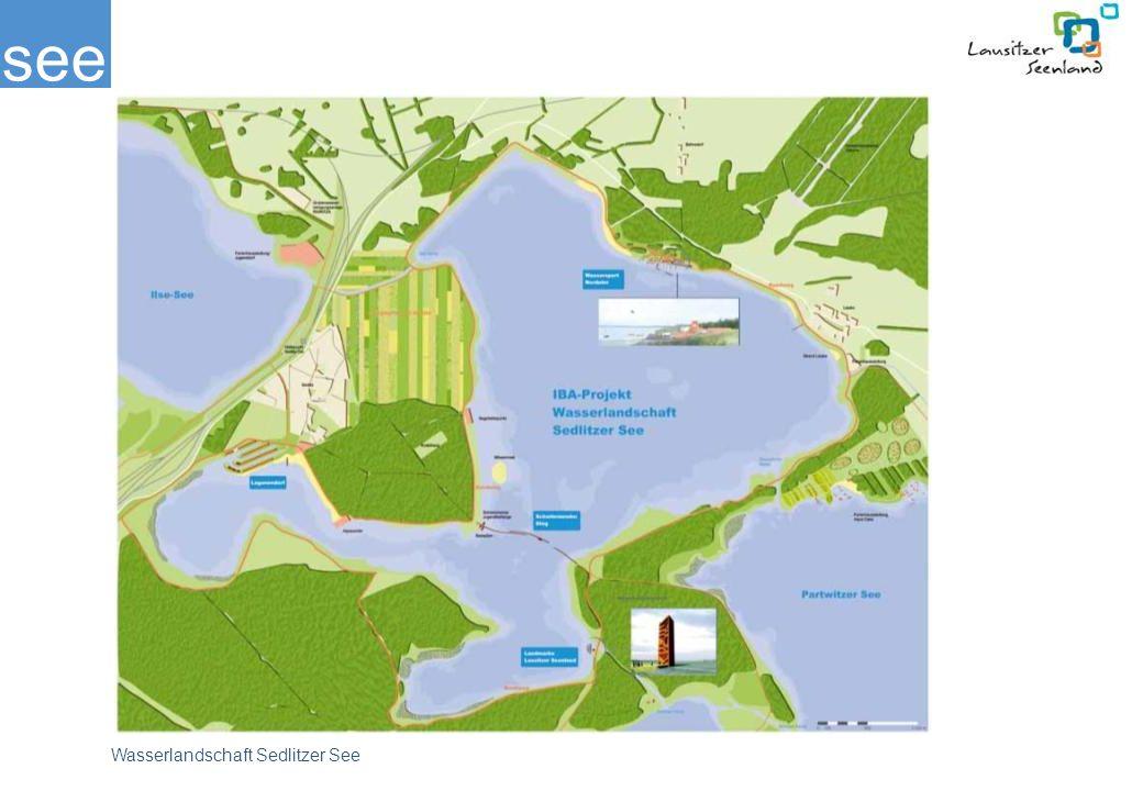 Mit 1330 Hektar wird der Sedlitzer See der größte brandenburgische im grenzüberschreitenden Lausitzer Seenland sein. Voraussichtlich im Jahr 2015 wird er seinen Endwasserstand erreicht haben. Aufgrund seiner zentralen Lage ist der Sedlitzer See ein besonderer Entwicklungsschwerpunkt, der Besuchern besondere Attraktionen bieten soll. Heute stellt sich das Gewässer als eine für die Region typische Zwischenlandschaft mit bizarren Inselrippen und wild bewachsenen Böschungen dar.