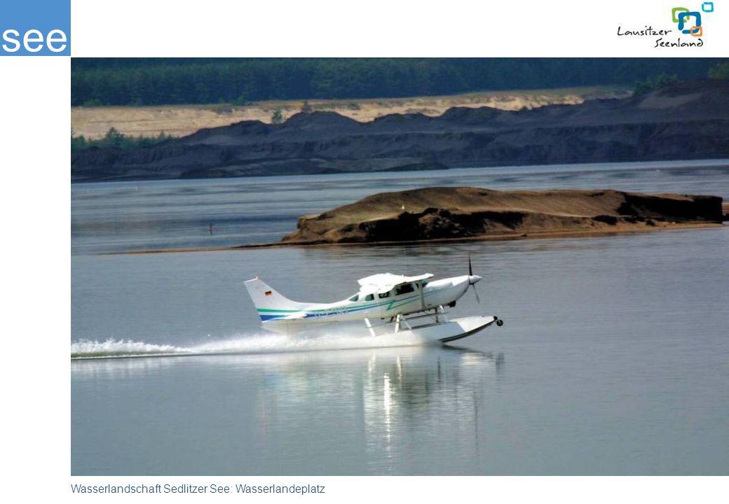 Am Nordufer des Sedlitzer Sees beginnt bereits die Nutzung der großen Wasserfläche: als Besonderheit ist ein Landeplatz für Wasserflugzeuge in Betrieb.