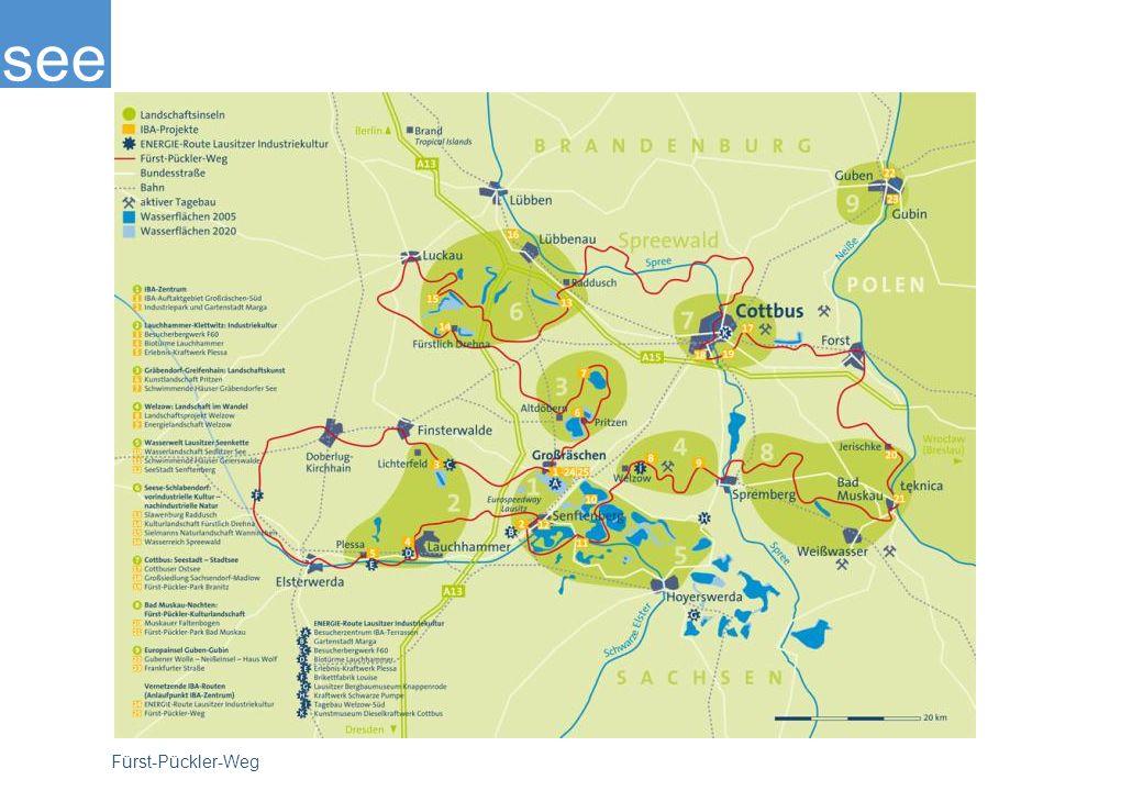 Auf dem Fürst-Pückler-Weg, der fast alle IBA-Projekte und attraktiven Sehenswürdigkeiten der Lausitz miteinander vernetzt, sind Radler ganz ausgezeichnet unterwegs: