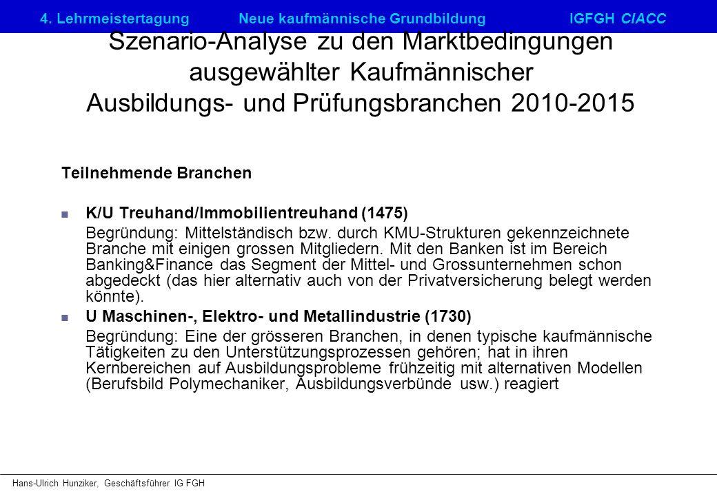Szenario-Analyse zu den Marktbedingungen ausgewählter Kaufmännischer Ausbildungs- und Prüfungsbranchen 2010-2015