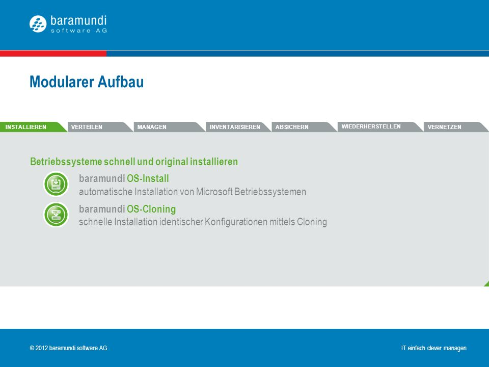 Modularer Aufbau Betriebssysteme schnell und original installieren