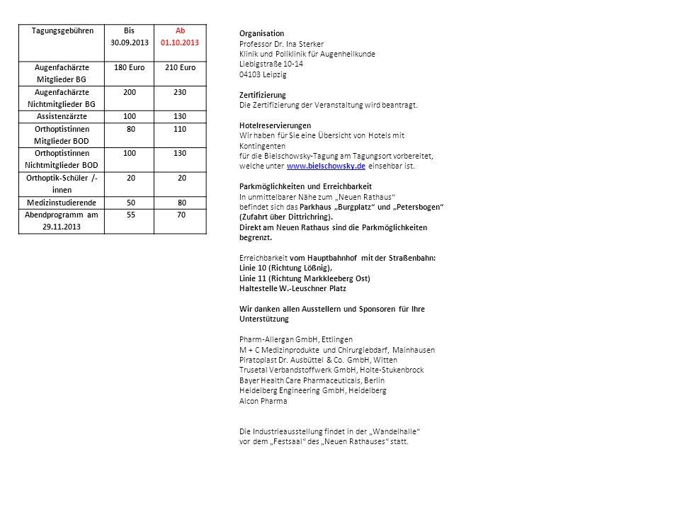 Augenfachärzte Mitglieder BG 180 Euro 210 Euro