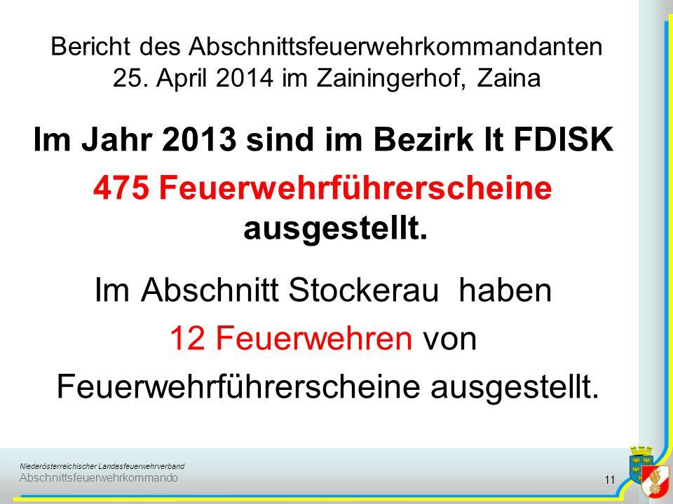 Bericht des Abschnittsfeuerwehrkommandanten 25