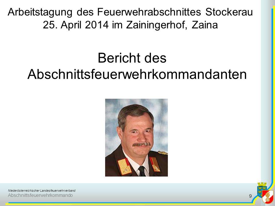 Bericht des Abschnittsfeuerwehrkommandanten