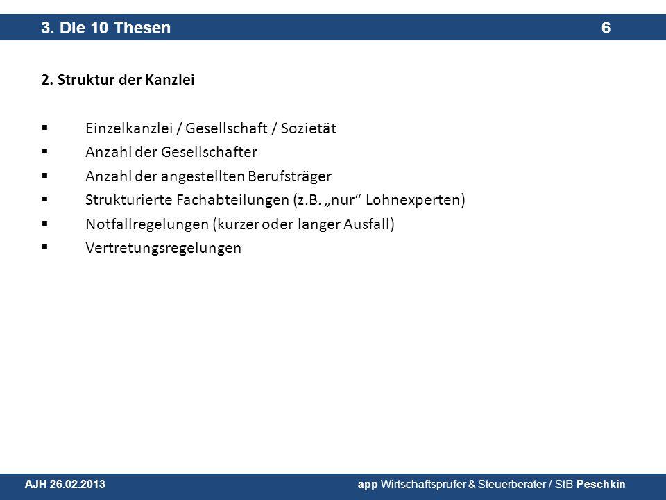 Einzelkanzlei / Gesellschaft / Sozietät Anzahl der Gesellschafter