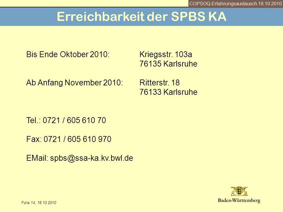 Erreichbarkeit der SPBS KA