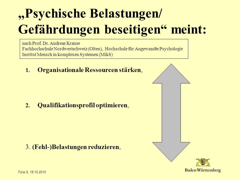 """""""Psychische Belastungen/ Gefährdungen beseitigen meint:"""
